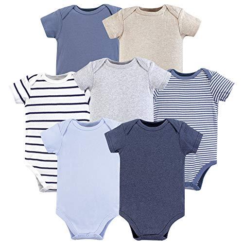Hudson Baby Baby Cotton Bodysuits, Boy Basics 7-Pack, 6-9 Months (9M)