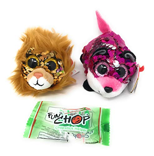 TY Sequin Teeny Ty's Bundle of 2, Includes Jewel The Fox, Regal The Lion, and a Fun Chop Chopstick Holder