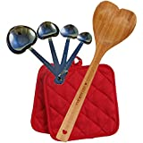 Cooking Gift Set - Bamboo Heart Shaped Spoon, Heart Measuring Spoons, and 2 Potholders (Red)
