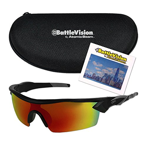 Battle Vision HD Polarized UV Sunglasses by Atomic Beam, Eliminating Glare & Enhancing Color (1 Pair with Case)