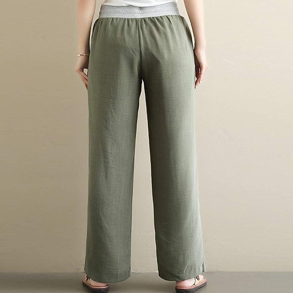 Sulifor Pantalones de Mujer para Tiempo Libre, Ancho de piernas, Pantalones de algodón y Lino, Pantalones Rectos, monocromáticos, de Lino, Ancho Verde XL: Amazon.es: Ropa y accesorios