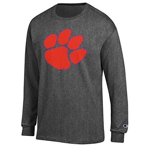 Elite Fan Shop Clemson Tigers Long Sleeve Tshirt Icon Charcoal - XL