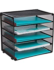 Desk Organizer Tray - Letter Tray in Black Metal Mesh for Organizing Files, Papers, Bills, Folders, Letters, Binders, and More. Desktop Paper Tray Rack for Home, Office, or School … (5 Tier)