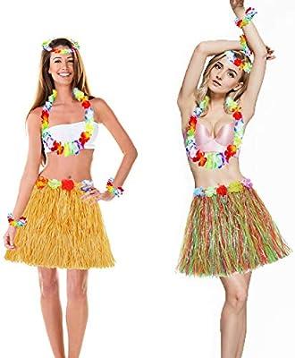 Men/'s Hula Girl Hawaiian Hawaii Stag Night 4 Piece Fancy Dress Flower Lei Set