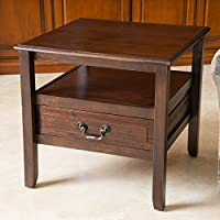 Noah Brown Mahogany Wood Short Drawer End Table