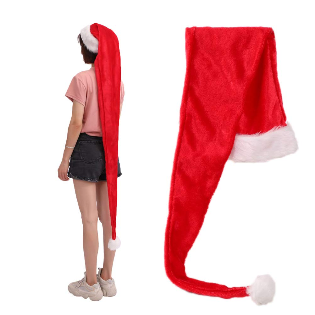 Amosfun 1.5M Santa Claus Hat Christmas Hat Singing Decoration for Kid Adult Xmas Cap Halloween Christmas Birthday Gift for Friends