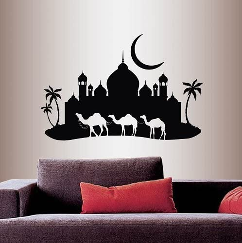 Wall Vinyl Decal Home Decor Art Sticker Arabian Night Amel Caravan Mosque Palace Palm Trees Skyline Moon Travel Bedroom Living Room Removable Stylish Mural Unique Design 199 Amazon Com