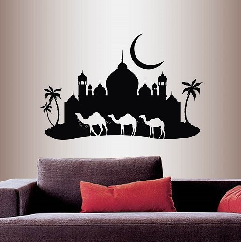 Wall Vinyl Decal Home Decor Art Sticker Arabian Night ?amel Caravan Mosque Palace Palm Trees Skyline Moon Travel Bedroom living Room Removable Stylish Mural Unique Design 199