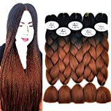 MSBELLE 5PCS Ombre Kanekalon Braiding Hair Extensions,Jumbo Synthetic Fiber Twist Braids Hair 100g/PCS