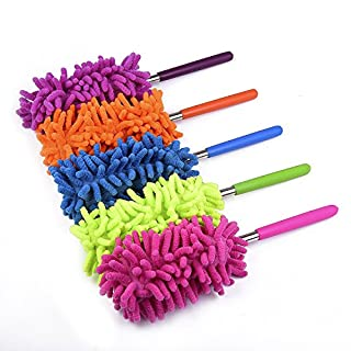 "Washable Dusters for Cleaning, Phoenixes Feather Duster Extendable Dusting Wand 11""-30"", Wet or Dry Use (5 Pcs)"