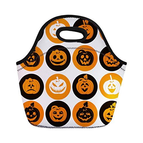 Tinmun Lunch Tote Bag Orange Shape Halloween of Cheerful Pumpkins Yellow Cute Evil Reusable Neoprene Bags Insulated Thermal Picnic Handbag for Women Men -