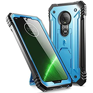 Poetic Moto G7 Rugged Case with Kickstand, Full-Body Dual-Layer Shockproof Protective Cover, Built-in-Screen Protector, Revolution Series, DO NOT FIT Moto G7 Power Or Moto G7 Play, Blue
