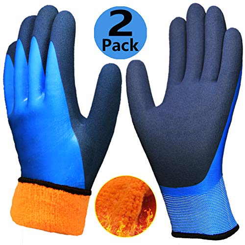 (Cold Weather Work Gloves 2 Pack, Double Coating Superior Grip Water-Proof Winter Gloves, Polar Fleece Liner Warm Comfortable for Outdoor Garden Auto Fishing Ice Snow Activities.)