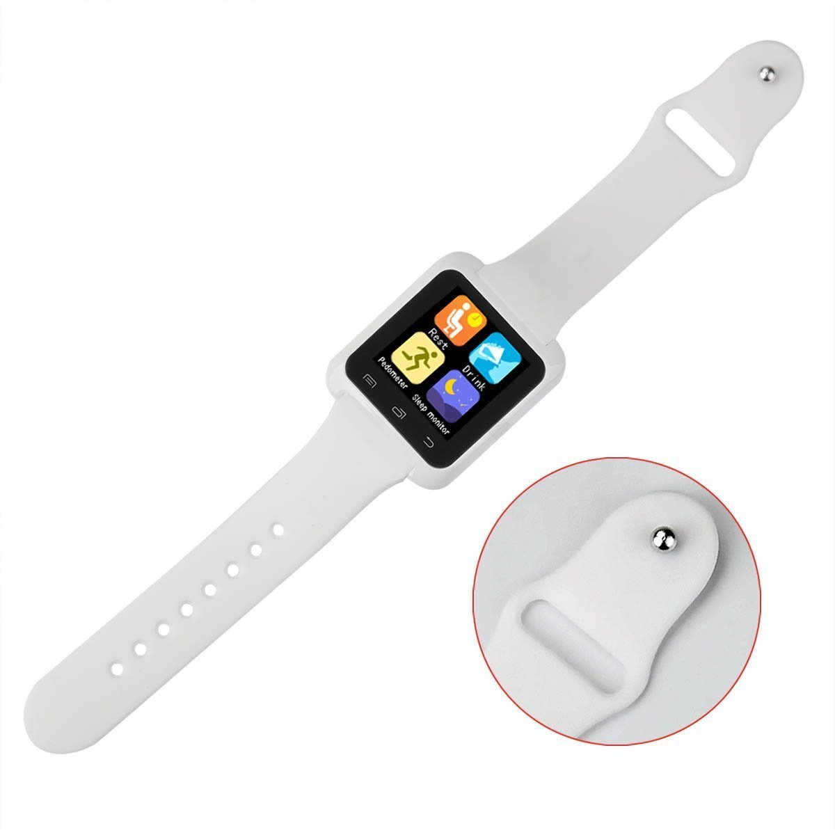 U80 Smart Watch Bluetooth 4.0 Anti-lost Wrist Wrap Watch Phone Mate for Android(Full function) and iPhone IOS(Partial function)(White (Model 2)