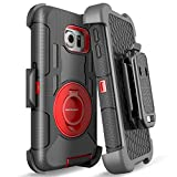 S6 Edge Case, Galaxy S6 Edge Case, BENTOBEN Shockproof Heavy Duty Protection Hybrid Rugged Rubber Case Built-in Rotating Kickstand Belt Swivel Clip Holster Cover for Galaxy S6 Edge/SM-G925 (Black/Red)