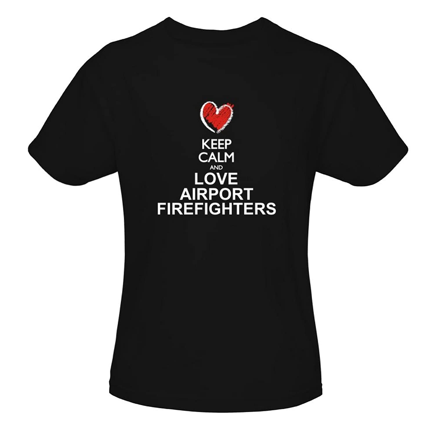 Amazon.com: Idakoos - Keep calm and love Airport Firefighters chalk style - Occupations - Girl T-Shirt: Clothing