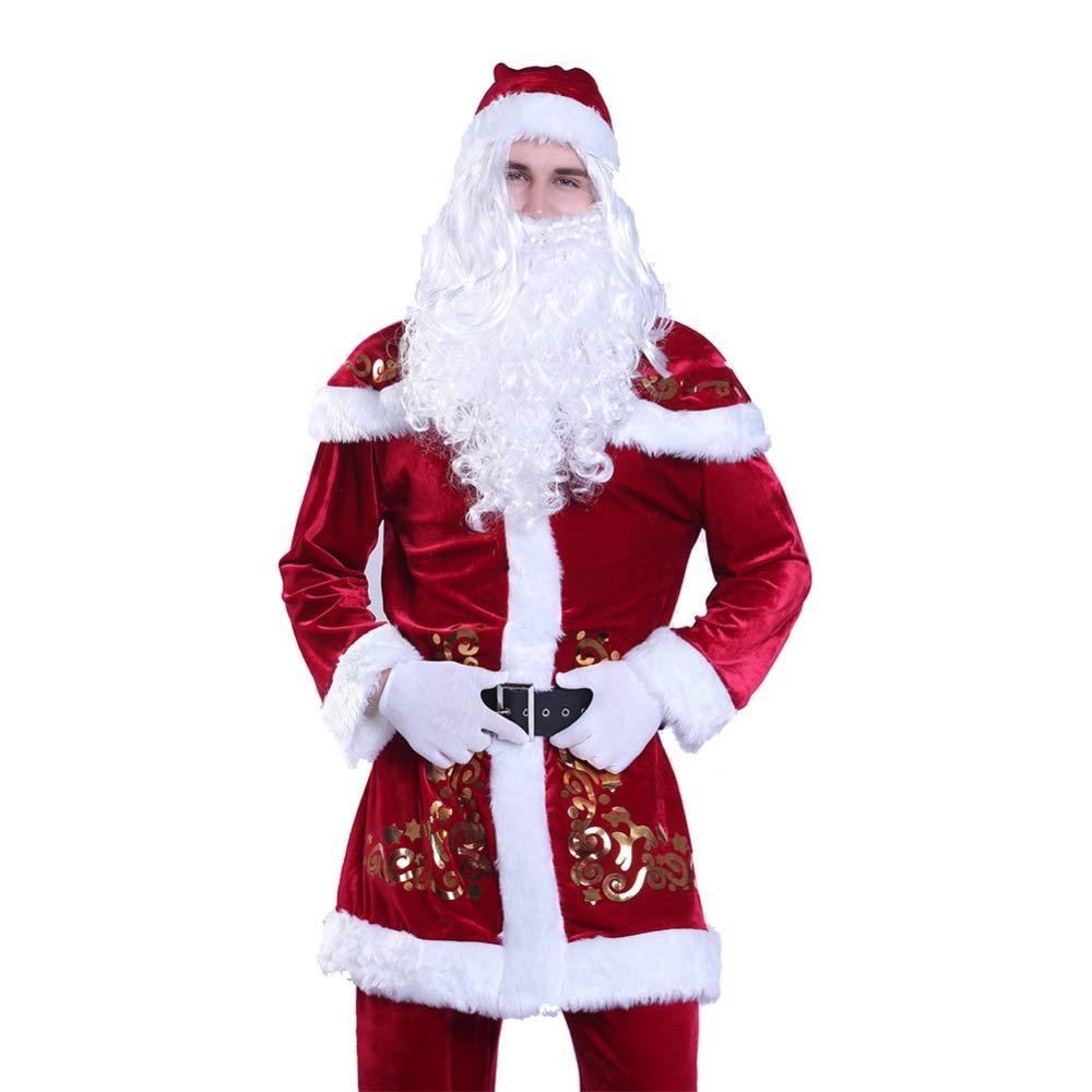 XXXXXL shuhong Santa Claus Costume Adult Men's Christmas Costumes Mens Santa Claus,Deluxe Velour Santa Suit,Xmas, Keep Warm 9 Piece Fancy Dress Costume,4XL6XL,XXXXXL