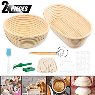 """ACTENLY 10"""" Round + 10"""" Oval Shaped Bread Banneton Proofing Basket for Sourdough, Includes Cloth Liner + Bread Lame +Whisk+Scraper+Stencils for Professional and Bread Making Starter (10""""Round+10""""Oval)"""