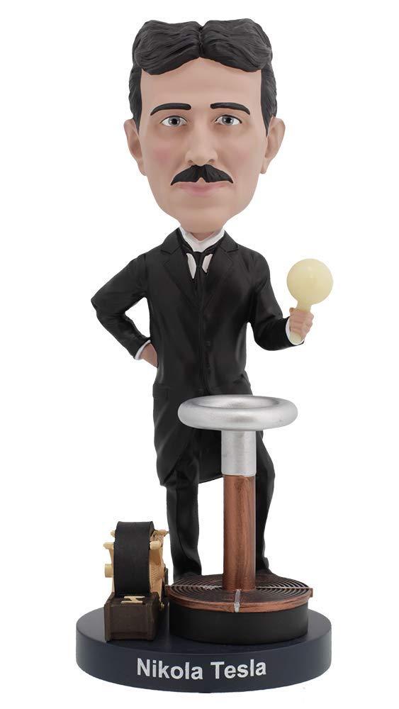 Royal Bobbles Nikola Tesla Bobblehead with a Glow-in-The-Dark Light Bulb