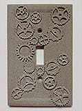 Gears (Steampunk) Stone/Copper/Patina Light Switch Cover (Custom) (Stone)