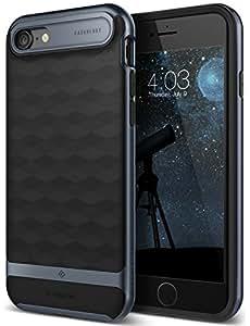 iPhone 7 Case, Caseology [Parallax Series] Modern Slim Geometric Design [Black / Deep Blue] [Textured Grip] for Apple iPhone 7 (2016)