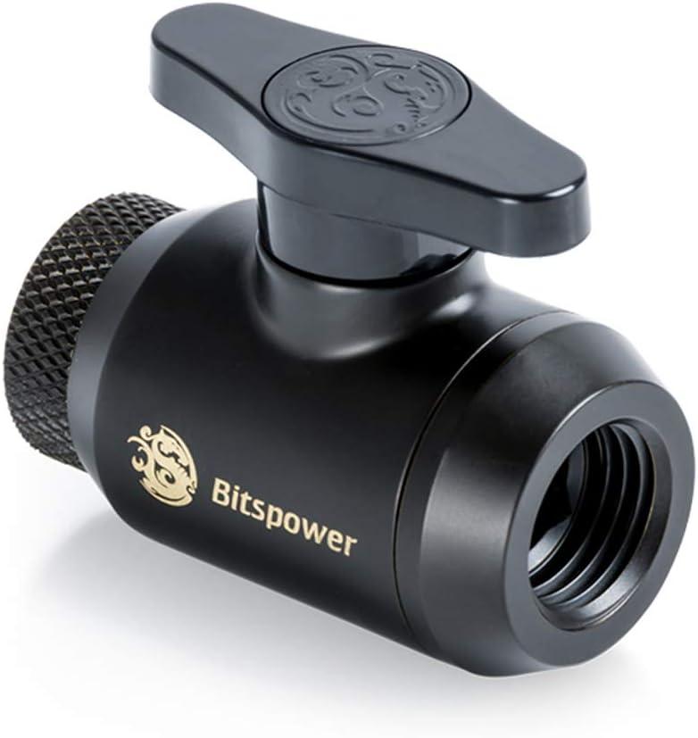 Matte Black Bitspower Mini Valve with Rotary Inner G1//4 Port and Inner G1//4 Port