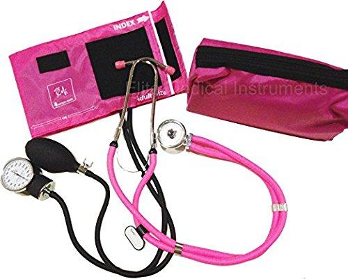 EMI NK-330 - PINK Sprague Rappaport Stethoscope and Aneroid Sphygmomanometer Blood Pressure Set and Pocket Organizer Nurse Kit