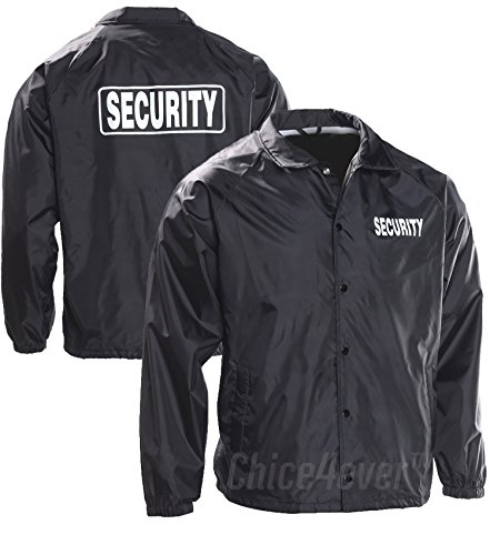 Choice4ever VOS Security 100% Taffeta Nylon Water Resistant Lightweight Windbreaker Black (Security Windbreaker)