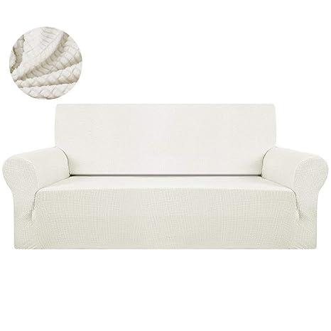 Domitlar - Funda para sofá de Esquina de 1/2/3 plazas, poliéster, Elastano, Tejido elástico, Funda para sofá, Blanco, 1seat