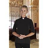 AT001 Women's Short Sleeve Jersey Knit Clergy Shirt - Tab Collar, BLACK, XLARGE