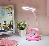 Touch Desk Lamp Eye Protection Desk College Student Bedroom Bedside Lamp Alarm Clock Children Learning Reading Lights Desk Lamp, Business Leather-Like Led Table Lamp , 2