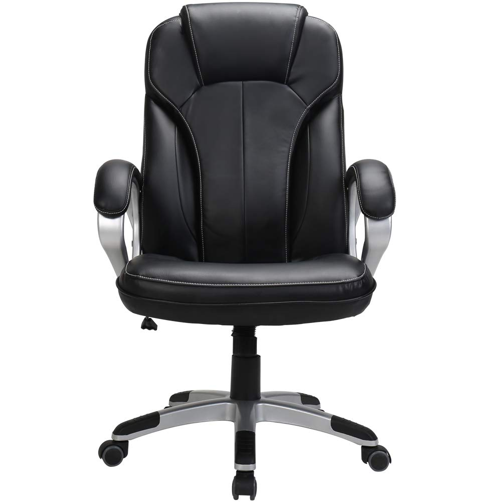 LasVillas Ergonomic PU Leather High Back Executive Office Chair with Adjustable Height, Computer Chair Desk Chair Task Chair Swivel Chair Guest Chair Reception Chairs Black