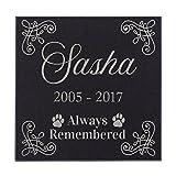 Always Remembered Corner Motif Cat Memorial Personalized Grave Stone For Cat   Granite