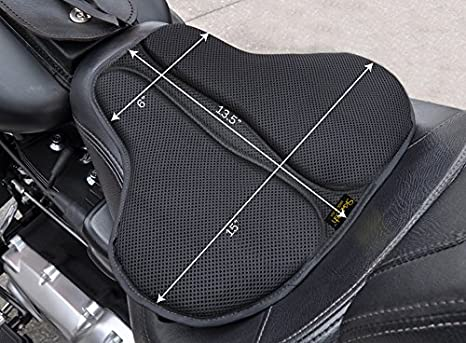 SKWOOSH Classic Saddle (Short) Motorcycle Gel Cushion Cooling Mesh Breathable Fabric | Solo Bobber Chopper Accessories | Made in USA I-Tek Inc. RCH0617