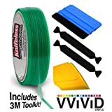 Knifeless Vinyl Wrap Cutting Tape Finishing Line 50M Plus 3M Toolkit (Blue Applicator Squeegee, Yellow Detailed Squeegee and Black Felt Edge Decals)