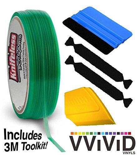 VViViD Knifeless Vinyl Wrap Cutting Tape Finishing Line 10M Plus 3M Toolkit (Blue Applicator Squeegee, Yellow Detailed Squeegee Black Felt Edge Decals) No Model