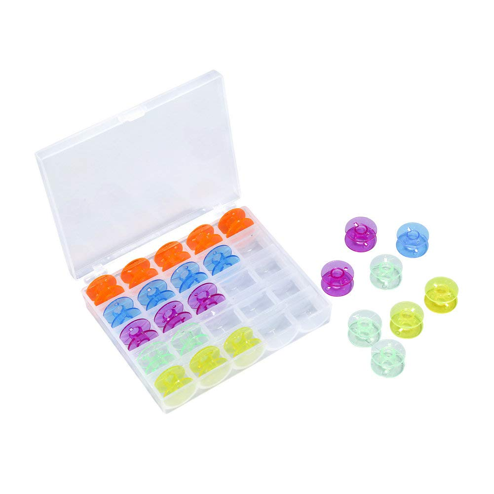 Transparent 50Pcs Plastic Sewing Machine Bobbins with Storage Case and Bonus Floss Bossins for Brother Singer Janome Kenmore