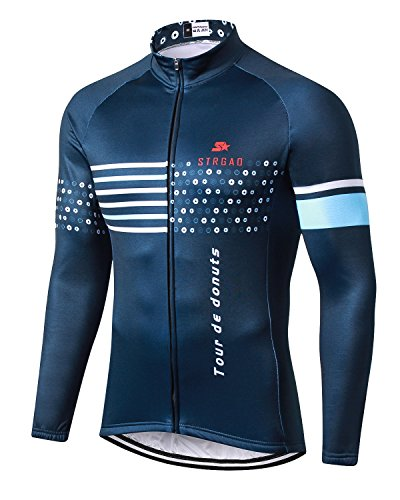 MR Strgao Men's Cycling Winter Thermal Jacket Windproof Long Sleeves Bike Jersey Bicycle Coat Size - Jersey Cycling Tall