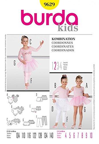 Burda para ropa de niños patrón de costura para - maillot de Ballet 9629, tutú y accesorios a partir: 4-10: Amazon.es: Hogar