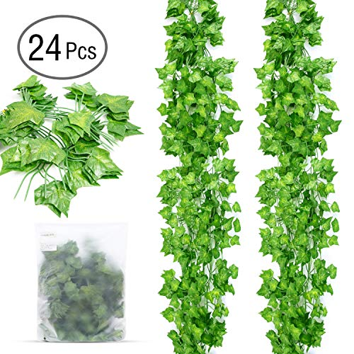 (Ohuhu Fake Ivy Vines 24 Strands 79 Inch Each, Artificial Ivy Leaves Vine Garland Plants Greenery for Wedding Decor Baby Shower Garden Birthday Party)