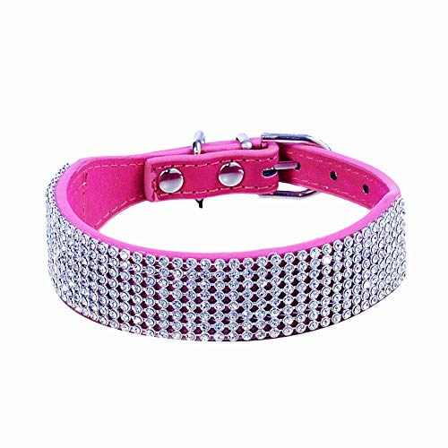 haoyueer Rhinestone Dog Collar, Bling Rhinestone Suede Leather Crystal Diamond Rhinestones Small Pet Cat Dog Puppy Collar(Hot Pink,S)
