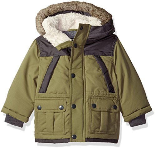 Osh Kosh Baby Boys' Infant Heavyweight Fashion Parka, Olive, (Fur Heavyweight Parka)