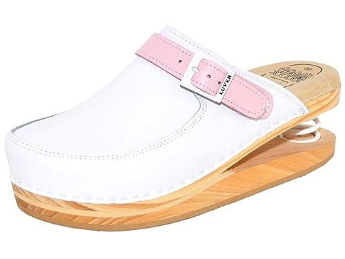 nuevo producto 4b01c 5e107 LUVER/J.RUBIO - Zuecos de cuero para mujer, color blanco ...
