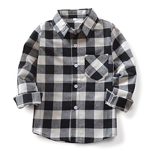 Baby's Boys' Girls' Long Sleeve Button Down Plaid Flannel Fashionable Shirt G004 Black White Tag 160CM - 9-10 ()