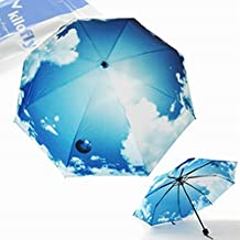 kilofly Bright Blue Sky Folding Umbrella, with Carry Sleeve