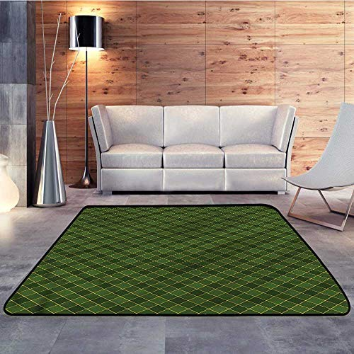 """Outdoor Rugs,Green,Old Fashioned Argyle PatternW 47"""" x L59 Outdoor Floor Mats"""