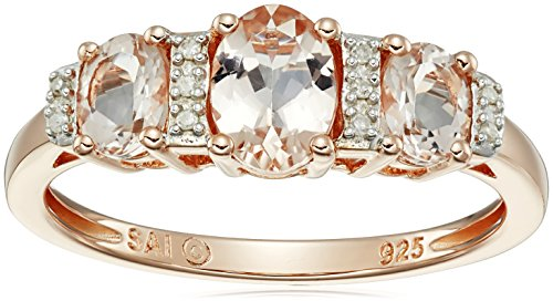 Rose Gold-Plated Sterling Silver, Morganite, and Diamond-Accented Ring