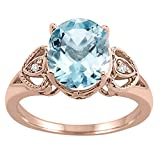 Oval Aquamarine and Diamond Ring in 10K Rose Gold