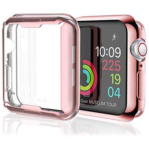 [2 Pack] Misxi Rose Gold Case Compatible with Apple Watch Series 4 Screen Protector 40mm, iwatch Cover TPU Overall Protection Ultra-Thin Case for Apple Watch Series 4 40mm (1 Rose Gold +1 Transparent)