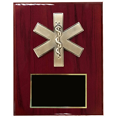 - Customizable 8 x 10 Inch Cherry Piano Finish Plaque with Paramedic Star of Life, includes Personalization
